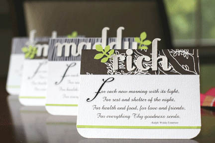 Modern placecards