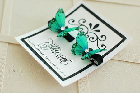 Etsy green butterfly clips 2