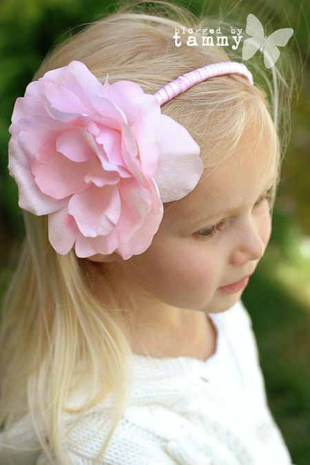 Ash pink flower headband web