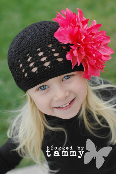 Etsy pink and black beanie