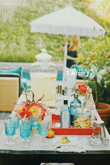 Tablescape blue glasses